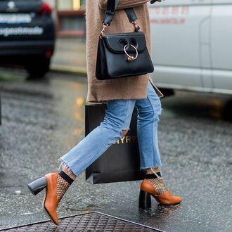 bag black bag j.w. anderson j w anderson denim jeans blue jeans cropped jeans shoes brown shoes thick heel block heels socks mesh tumblr tumblr outfit mesh socks cute socks designer bag