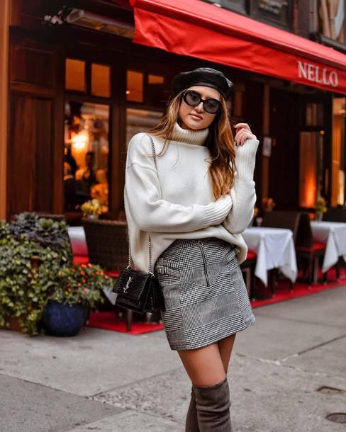 skirt tumblr mini skirt plaid plaid skirt grey skirt over the knee boots sweater white sweater sweater weather turtleneck turtleneck sweater beret sunglasses hat