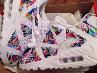 pretty shoes white nike sneakers nike running shoes air max floral airmax1 mulicolor footwear airmax 90