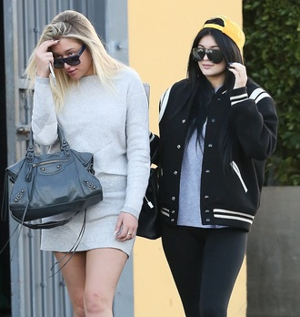 jacket kylie jenner black and white anastasia karanikolao athletic varsity