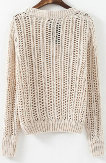 Beige Long Sleeve Hollow Knit Sweater - Sheinside.com