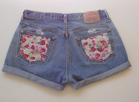 Size 33 High Waist Levi Cut Off Denim Jean Shorts by ThreadMeDown
