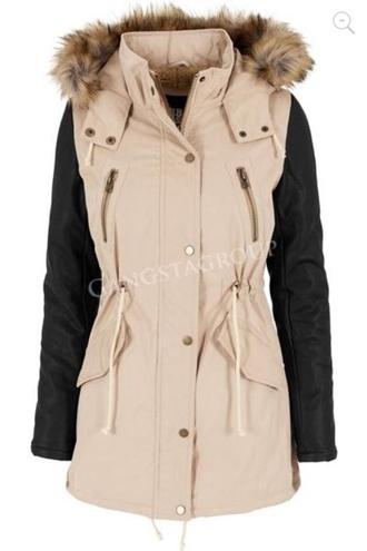 coat parka black beige