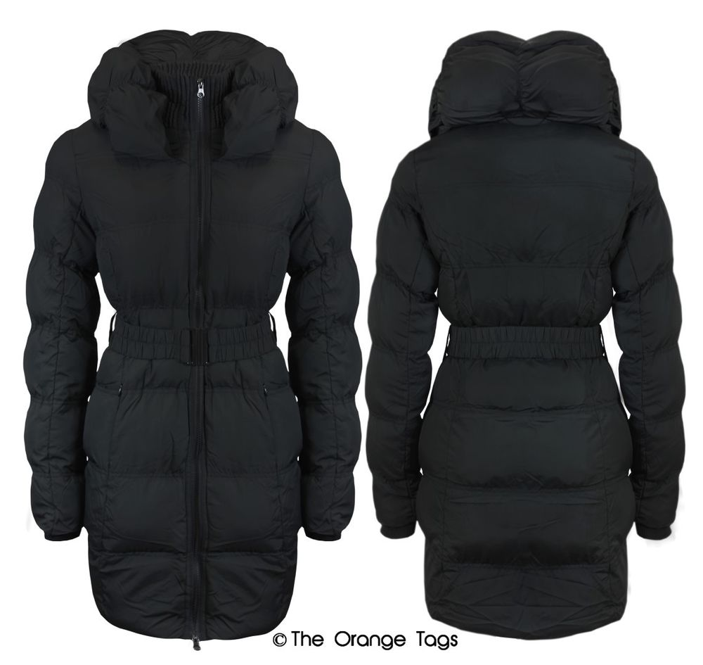 QUILTED BELTED ZIP PADDED COAT LADIES WARM WINTER JACKET TOP SIZE