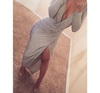 dress grey sexy long sleeves slit dress sexy plunging neck long sleeve gray high slit women's dress trendy cool cleavage fashion slit maxi rg