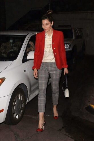 blouse top pants blazer jessica biel fall outfits pumps work outfits shoes