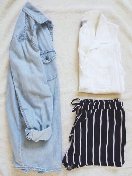 shorts white blouse white blouse shirt sheer denim jacket jacket striped shorts