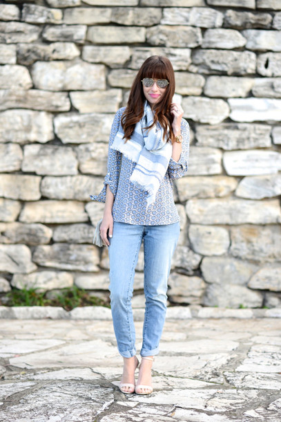 m loves m blogger top jeans scarf