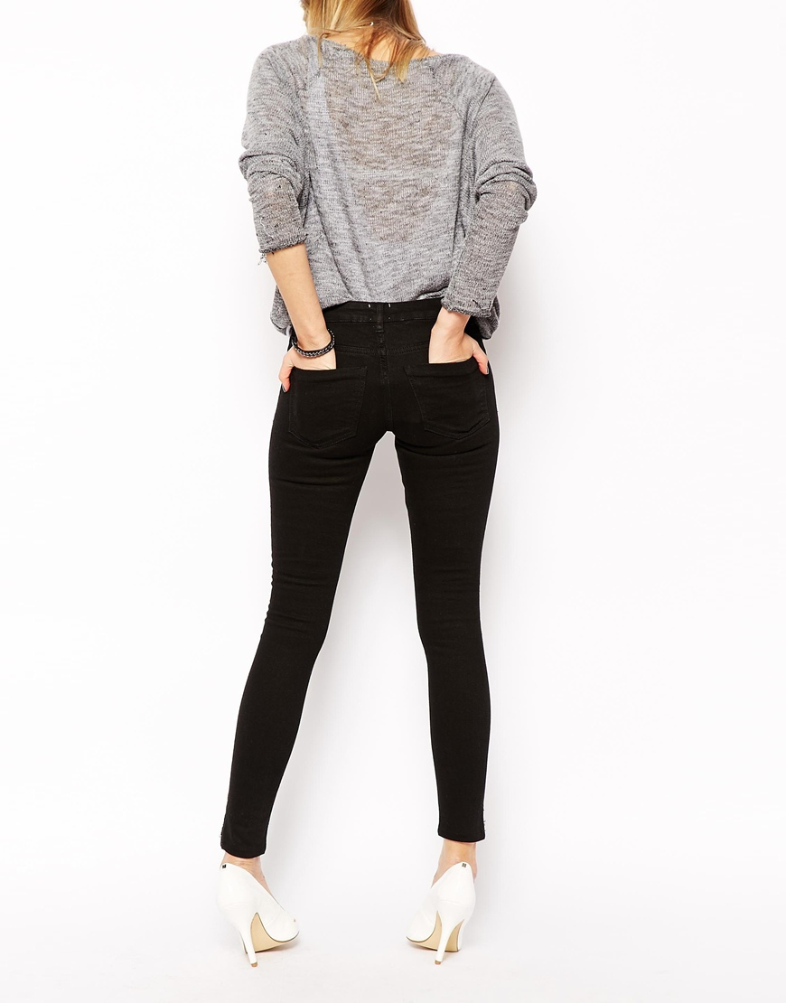 ASOS Whitby Low Rise Skinny Ankle Grazer Jeans in Clean Black at asos.com