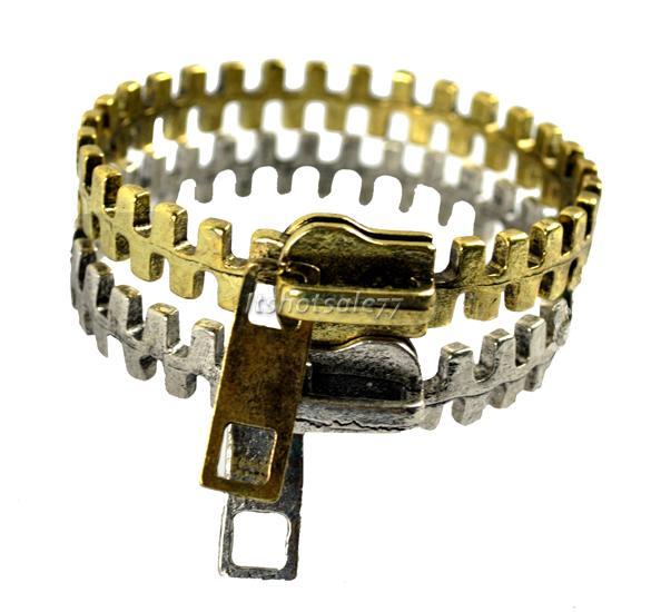 Hot Gothic Punk Rock Biker Unique Zipper Zip Shape Metal Bangle Bracelet   eBay