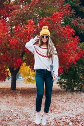 thegirlintheyellow dress,blogger,sweater,hat,jeans,shoes,bag,sunglasses,beanie,fall outfits,ankle boots