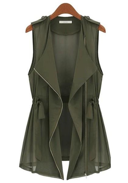 Army Green Drawstring Zipper V-neck Sleeveless Chiffon Vest