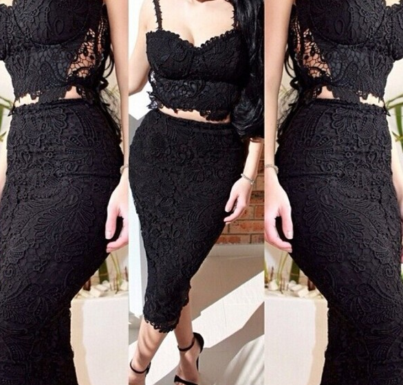 Lace 2pcs Knee Dress