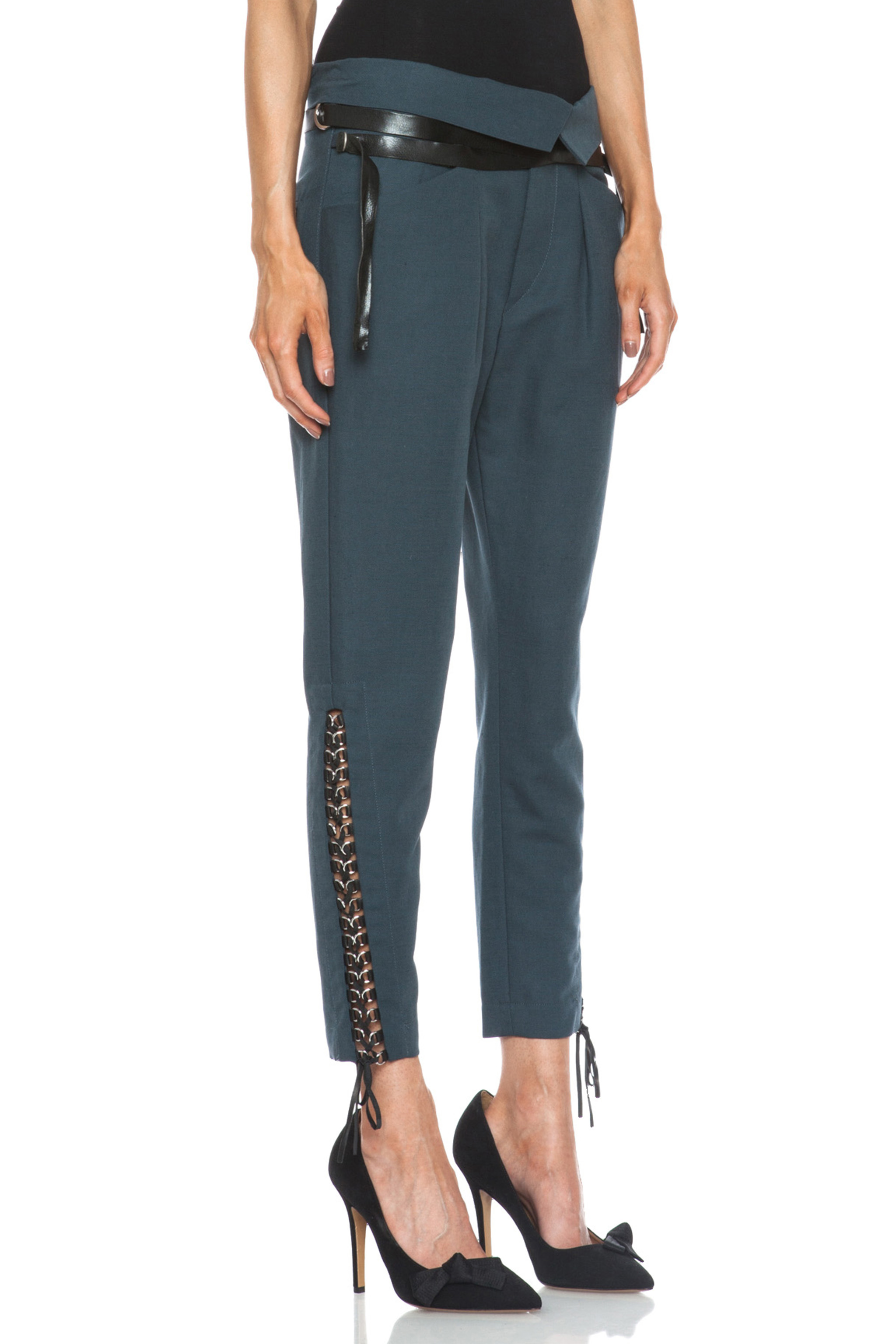 Isabel Marant | Den Linen-Blend Cropped Pants in Slate Blue