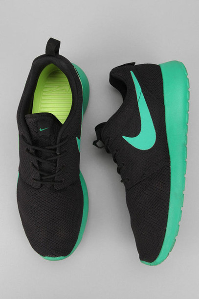 Shoes: nike, black, green, lime, mint, roshes, hype, nike roshe