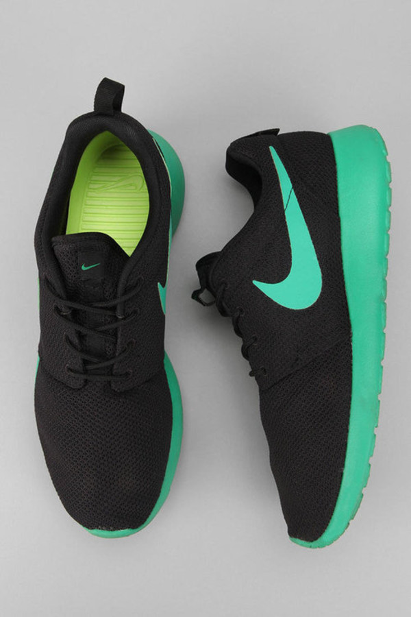 Shoes: nike, black, green, lime, mint, roshes, hype, nike roshe run, nike  roshes floral, nike running shoes, running shoes, nikes, nike roshe run, run,  nike ...