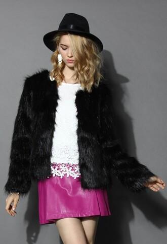 black coat chicwish warm coat