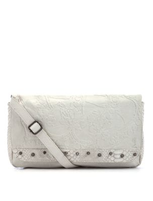 Religion Cream Snake Skin Stud Shoulder Bag