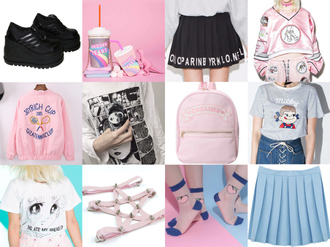 cami nim blogger socks aesthetic cyber ghetto pastel bag pastel kawaii kawaii accessory pleated skirt harness platform sneakers