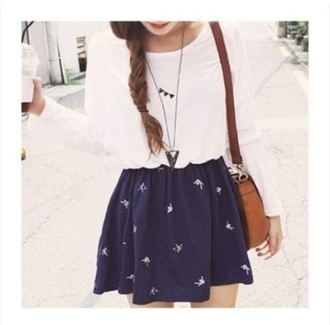bag skirt navy blue dress brown leather satchel necklace triangle necklace white shirt white long sleeve braid