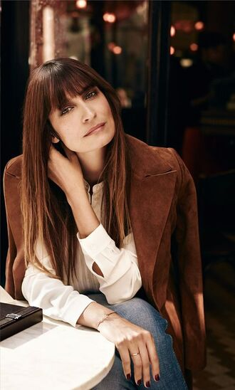 coat caroline de maigret model fashionista brown coat suede coat shirt white shirt jeans blue jeans fall outfits