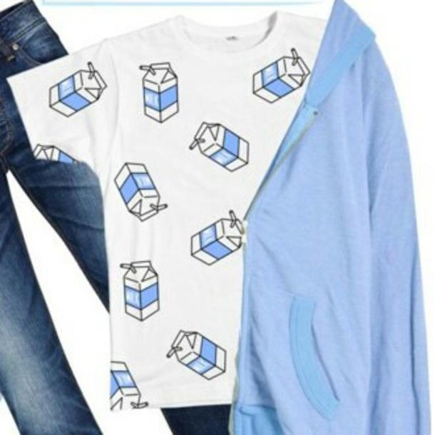 shirt milk printed t-shirt baby blue cute