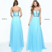 dress,sherri hill,prom dress,blue dress,light blue dress,strapless dress