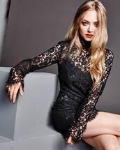 dress,little black dress,black dress,amanda seyfried,editorial,lace dress,lace,new year's eve