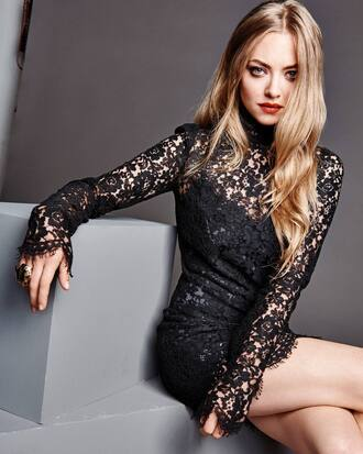 dress little black dress black dress amanda seyfried editorial lace dress lace new year's eve