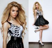 skirt,girl,fashion,romwe,tank top,dress,skull,black,cute dress,emo,scene