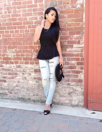 jeans clothes pants peplum black fashion style jeggings streetstyle streetwear outfit blogger sea of shoes shirt halter neck tank top girly pretty little liars destressed boyfriend jeans blouse bag red lime sunday