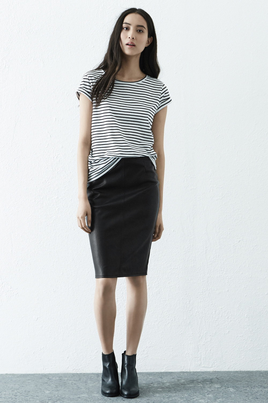 black pu pencil skirt