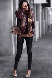 fashionedchic,blogger,jacket,sweater,jeans,shoes,leather jacket,shoulder bag,high heel pumps,skinny jeans,winter outfits