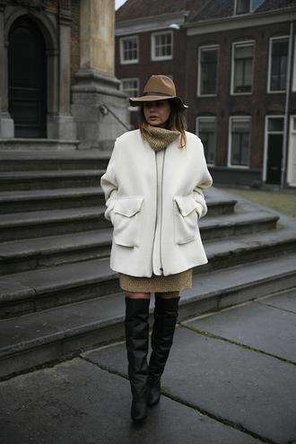 fashion zen blog blogger hat sweater dress winter outfits thigh high boots coat sweater dress shoes beige knit dress