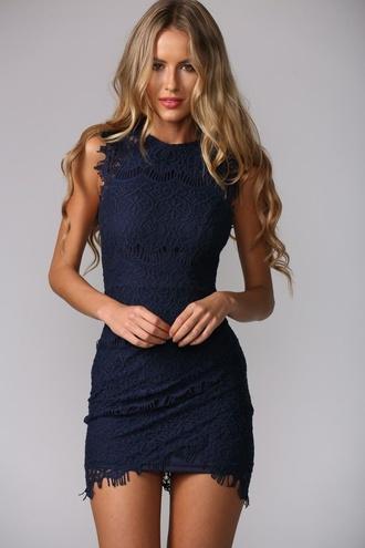 dress blue cute pretty lace dress