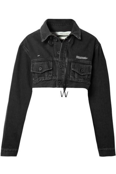 Off-White jacket denim jacket denim cropped black