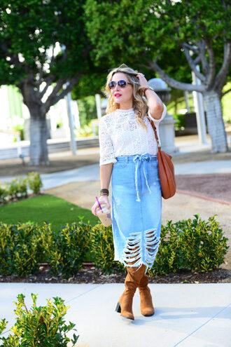 thehuntercollector blogger top skirt bag shoes sunglasses midi skirt denim skirt shoulder bag boots