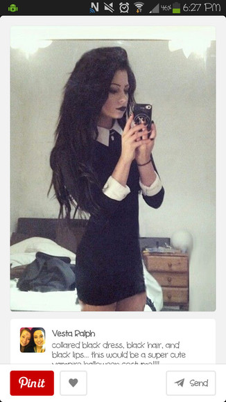 white collar dress black cute cute dress white cuffs goth sleeves tight dress