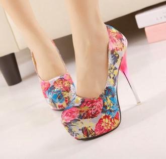shoes high heels pumps floral
