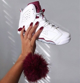 shoes nike jordans white burgandy jordyns