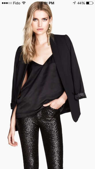 blouse h&m fashion style black leather jacket lace top blazer office outfits
