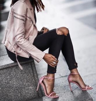 shoes tumblr sandals sandal heels high heel sandals pink sandals denim jeans black jeans black skinny jeans skinny jeans ripped jeans jacket pink jacket ring silver ring blue jeans