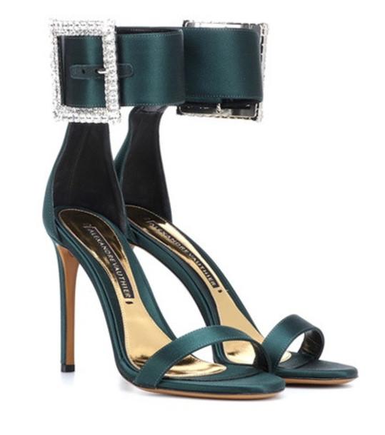 Alexandre Vauthier Yasmin embellished satin sandals in green