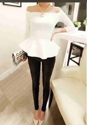 shirt,blouse,white,off the shoulder,peplum top,white peplum top,black,peplum,top,pants,black pants,jeans,black jeans,cute jeans,cute,cute pants,cute top,white top,white shirt,cute shirt,chic,modern,clutch,girly