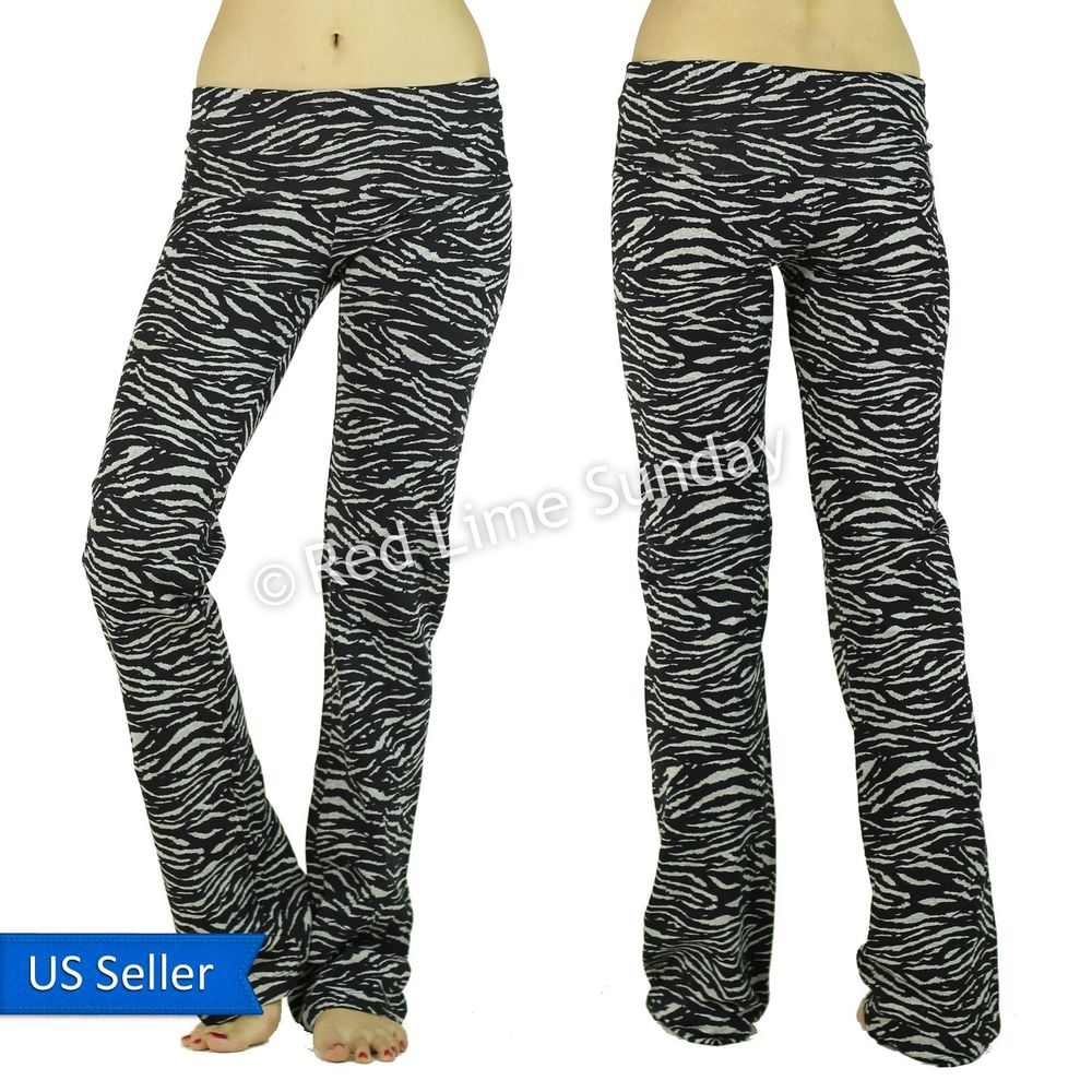 New zebra animal print fold over cotton blend yoga lounge casual pants bottoms