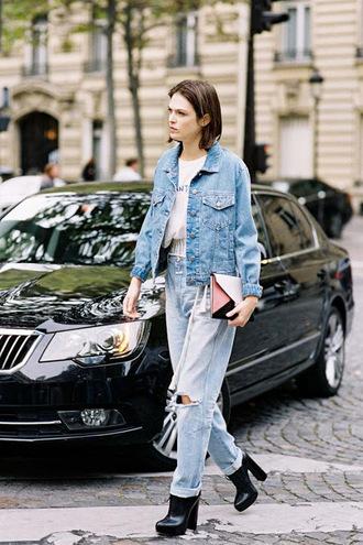 vanessa jackman blogger denim denim jacket boyfriend jeans high heels