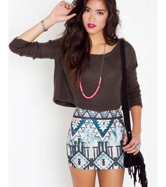 skirt aztec miniskirt