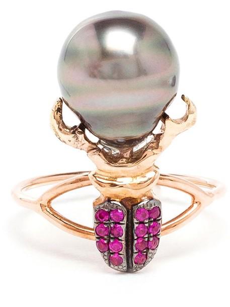 Daniela Villegas women pearl ring gold red jewels