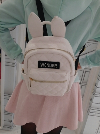 bag bunny ears wonder kawaii kawaii bag easter beautiful bags school bag fashion bags backpack leather backpack fashion backpack pink pink bag bunny pale ears cute