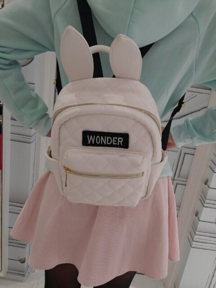 bag pink pink bag bags beautiful bags school bag fashion bags backpack backpacks leather backpack fashion backpack bunny bunny rabbits rabbit kawaii bunny ears wonder cute pale ears jewels